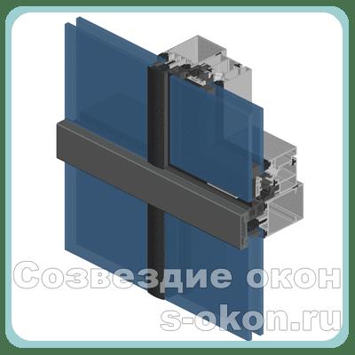 Полуструктурное остекление алюминиевых витражей