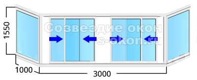 Стоимость остекления балкона длиной 3 метра