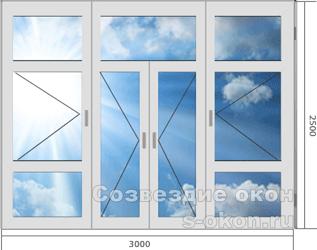 Большие современные окна с дверью