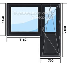Цена окна с дверью темного цвета