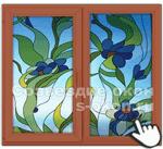 Витраж на деревянных окнах с алюминиевым окладом