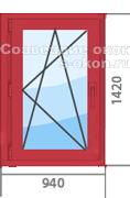 Цена на красное окно ПВХ
