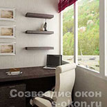 Вариант объединения балкона с комнатой-кабинетом