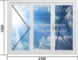 Трехстворчатое окно Rehau или KBE