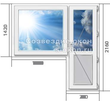 Пластиковые окна с дверь в Климовске недорого