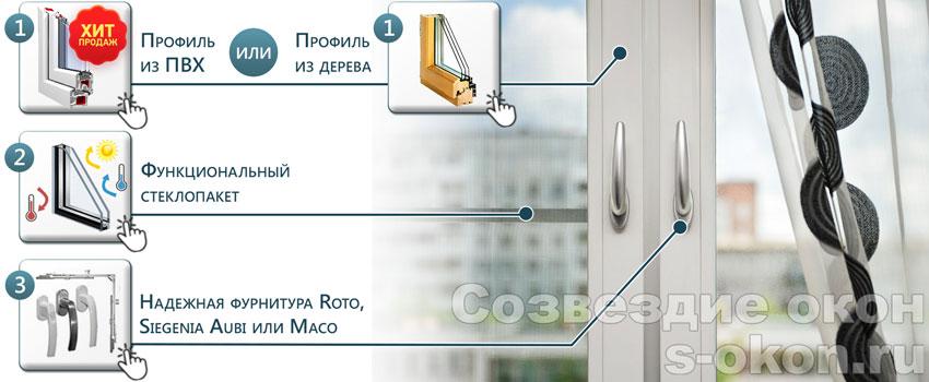 Элементы остекления трехкомнатной квартиры