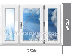 Трёхстворчатое окно для дачи