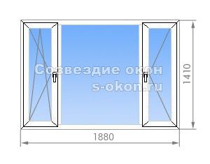Трехстворчатое окно в 1-515/9M
