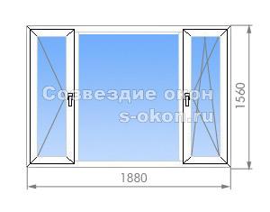 Трехстворчатое окно в 1-515/9Ш