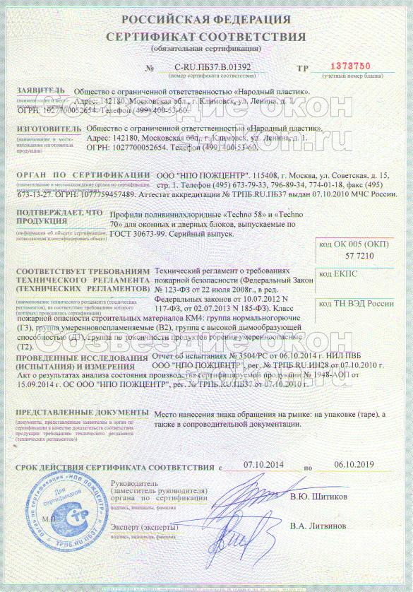Сертификат Новотекс Термо
