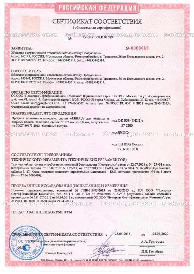 Пожарный сертификат Рехау
