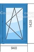 Цена на синее окно ПВХ
