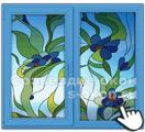Окна с синей витражной пленкой