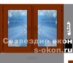 Двухстворчатое окно из дуба