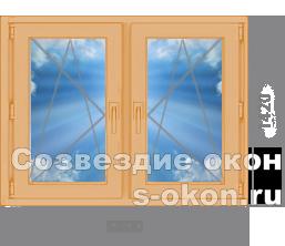Двухстворчатое окно из лиственницы