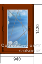 Одностворчатое окно из  дуба