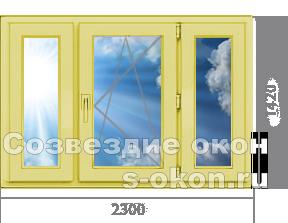 Трехстворчатое окно из сосны