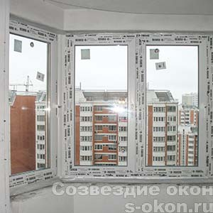 Пластиковое угловое окно