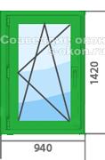 Цена на зеленое окно ПВХ