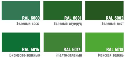 Цвета зеленых окон RAL