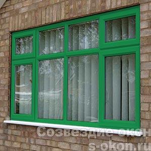 Пластиковые окна зеленого цвета