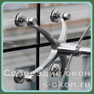 Спайдерное остекление (планорное) алюминиевых витражей