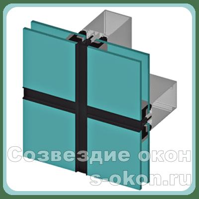Структурное остекление алюминиевых витрижей