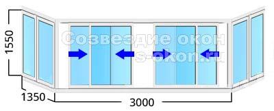 Алюминиевые окна на балкон с 4 створками