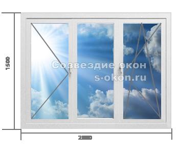 Трехстворчатое окно. Тип 1