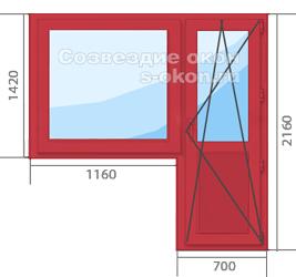 Красное окно с дверью
