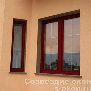 Пластиковые окна красного цвета