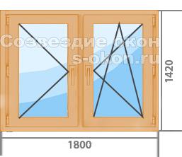 Деревянные окна из лиственницы со стеклопакетом