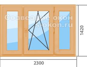 Цена окон из лиственницы со стеклопакетом