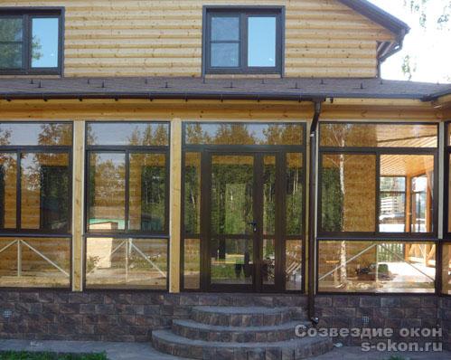 Деревянные окна для террасы