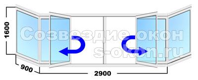 Цена остекления балкона в Москве холодного типа с поворотными створками