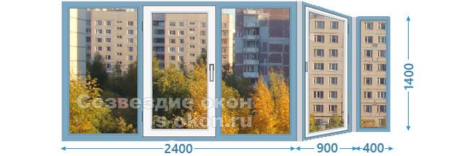 Размеры остекления балкона П44 сапожок
