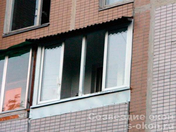 Пример остекления балконов п-46