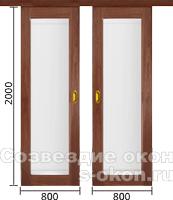 Двухстворчатая раздвижная межкомнатная дверь