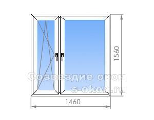 Двухстворчатое окно в 1-515/9Ш