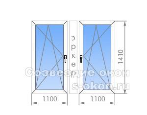 Окно эркерного типа в П-44М. Тип 1