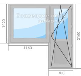 Серое окно с дверью
