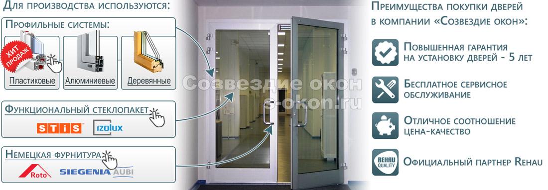 Элементы входных дверей со стеклом