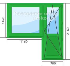 Зеленое окно с дверью